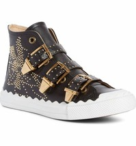 CHLOE Black Leather Studded Kyle Sneakers High Top Flat Shoes Susanna 41... - $389.00