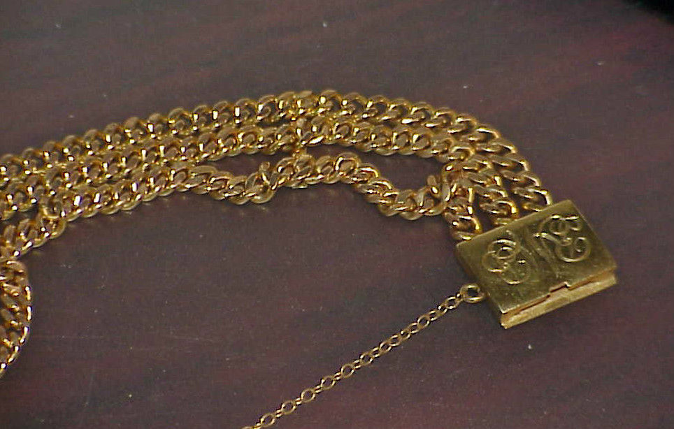 14K VICTORIAN YELLOW GOLD WATCH CHAIN BRACELET ANTIQUE DATED 1920 3 STRAND