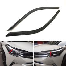 Car Front Headlight Lamp Moulding Trim Carbon Fiber Style For TOYOTA CHR 16-17 - $27.61