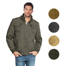 Maximos Men's Hooded Multi Pocket Sherpa Lined Bomber Jacket Sahara-03