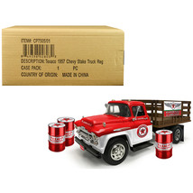 1957 Chevrolet Stake Bed Truck White/Red with 3 Oil Drums Texaco Aviatio... - $69.40