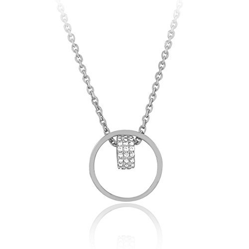 925 17 Inch Sterling Silver High Polish Circle Cz Necklace with 1 Inch Extension