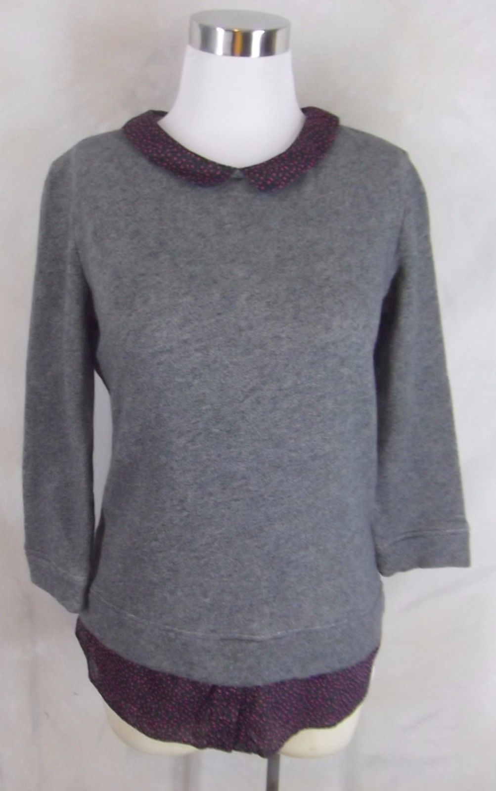 Ann Taylor Loft Collared Jersey Knit Shirt Top Small Gray Floral Trim 3/4 Sleeve