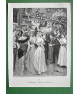 CHRISTMAS Raffle Ladies Fine Dresses Prizes - VICTORIAN Original Engraving - $13.17
