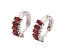 925 Sterling Silver Filled Red Ruby Huggie Hoop Earrings [EAR-271] - $11.09