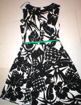 New Womens NWT AGB Sleeveless Dress Black White 12 Pineapple Green belt ... - $99.99
