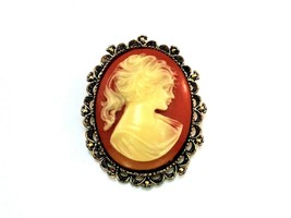 Vintage Cameo Pink and White BROOCH PIN Pendant Stamped Gerrys - $8.90