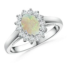 Princess Diana Inspired 0.70ct Opal Ring with Diamond Halo Gold/Platinum - $934.04+