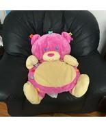 "Large Jumbo 32"" Taggies Tags N Snuggles Pink Bear Plush Play Mat Lovey - $99.99"
