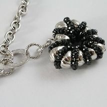 Necklace Silver 925, Rolo ' with Heart Pendant Milled and Spinel Black image 3