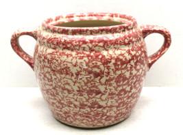 Vintage Roosevelt Spongeware Pottery Handled Jar Ceramic Bisque Fired Ma... - $37.39