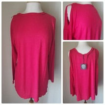 Bobeau Cold Shoulder Red Ribbed Knit Top Cutout Shoulder Long Sleeve Cre... - $23.33
