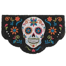 Colorful Day of The Dead Skull Door Mat Coir with Rubber Backing Dio de Los Muer