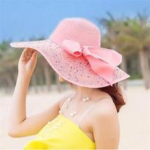Women Colorful Big Brim Straw Bow Hat Sun Floppy Wide Brim Hats Beach Cap Colorf image 6
