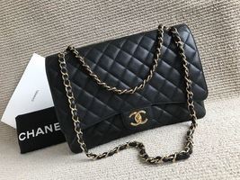 AUTHENTIC CHANEL BLACK QUILTED CAVIAR MAXI CLASSIC DOUBLE FLAP BAG GHW image 3