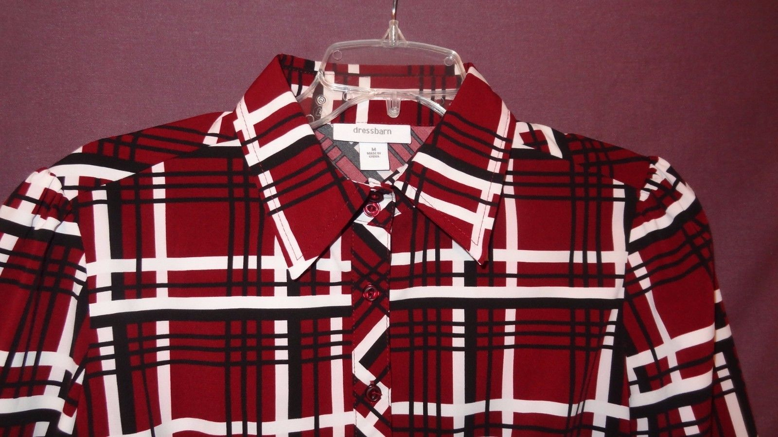 86c92ee7 Plaid Shirt Burgundy Black White Blouse Top and 26 similar items. S l1600