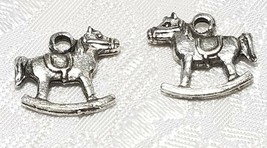 ROCKING HORSE FINE PEWTER PENDANT CHARM - 16x14x3mm