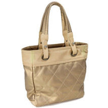 Chanel tote bag Paribiarittsu canvas Auth gold beige - $584.42
