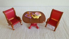 Fisher-Price Loving Family Dining Room Table Chairs Set with Food EUC Sh... - $13.99