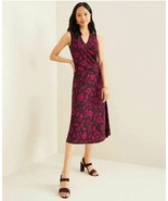 New Ann Taylor Purple Floral V-neck Sleeveless Twist Front Drape Midi Dr... - $59.39
