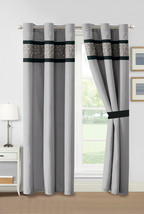 4-Pc Moxie Floral Baby's Breath Embroidery Curtain Set Black Gray White Sheer - $40.89