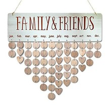YUQI [with Adhesive Hooks] Family Friends Calendar Wood Wall Hanging Pla... - $12.64