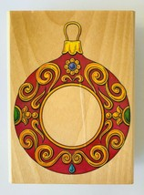 Christmas Ornament Frame Rubber Stamp Stampcraft 440Z07 Wood Mounted 3.5... - $5.18