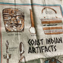 Cotton Tea Towel Dish Coast Indian Artifacts Kitchen Linens Native Canadian - $9.89