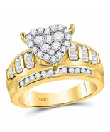 10kt Yellow Gold Round Diamond Cluster Bridal Wedding Engagement Ring 1 Ctw - £709.52 GBP