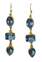 Blue Gold Plated Glass delicate Blue Topaz CZ jewellery Earring AU gift - $8.33