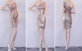 Rose Gold One Shoulder Short Sequin Dress Wedding Bridesmaid Short Sequin Dress image 2