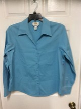Talbots Blouse Women 16 Blue Wrinkle Resistant Business Casual Long Sleeve - $7.69