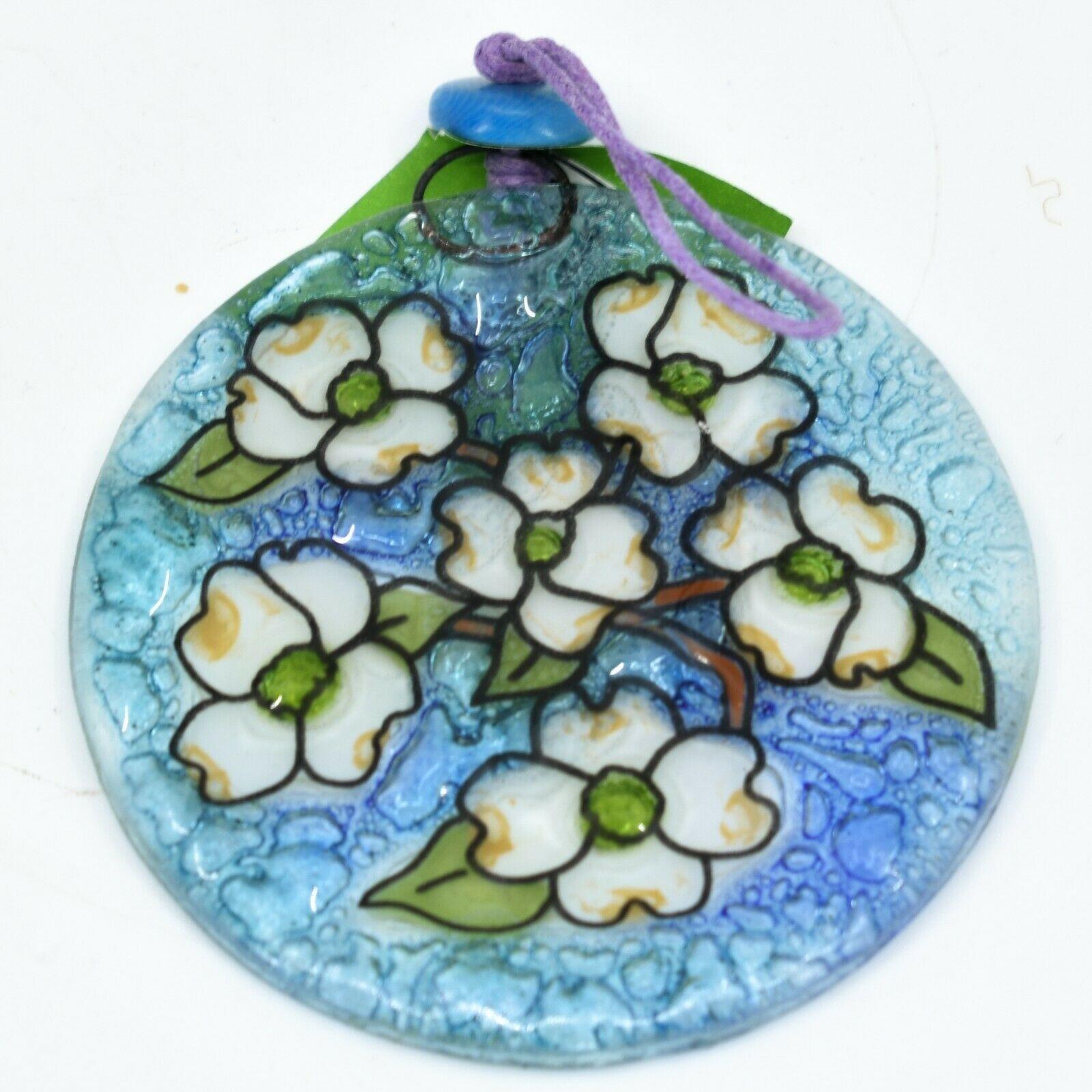 Dogwood Spring Flower Fused Art Glass Ornament Sun Catcher Handmade Ecuador