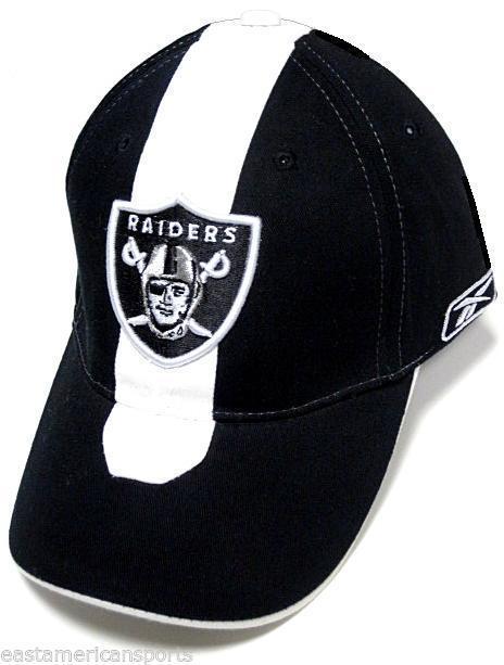 Oakland Raiders NFL Reebok Sideline Hat Cap Black   White Skunk Stripe  OSFA.  14.99. 1 039b5156e