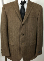 Polo Ralph Lauren Suit Jacket 42 R Brown Tan Wool Angora Italy - $275.22