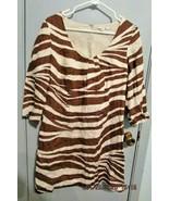 Boden Women's Shift Dress US 6 UK 10 Linen Brown White Giraffe Print - $17.59