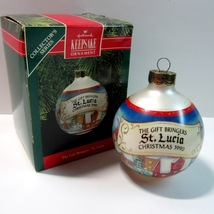 Hallmark Gift Bringers St Lucia Glass Ball Ornament -2nd in Series-QX280-3 -1990 - $5.99