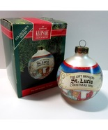 Hallmark Gift Bringers St Lucia Glass Ball Ornament -2nd in Series-QX280... - $5.99