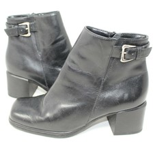 White Mountain Black Leather Ankle Boots With Side Zip for Women, Size 5.5 M - £13.88 GBP