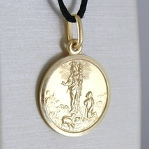 SOLID 18K YELLOW GOLD OUR MARY LADY OF THE GUARD 15 MM ROUND MEDAL MADE IN ITALY image 2