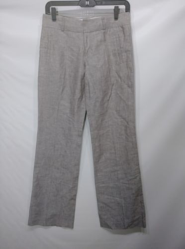 BANANA REPUBLIC WOMEN'S TROUSER 718 MARTIN FIT SZ 0 GRAY LINEN COTTON RN 54023