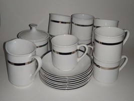Coffee Serving Set Cups and Saucers Sugar Dish Pitcher Staffordshire 18 ... - $17.81