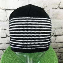Unisex One Sz Hat Black White Striped Stretch Knit Beanie Warm Winter Sk... - $14.84