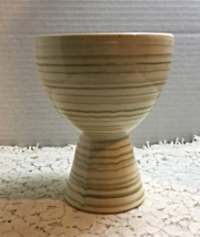 McCoy Pottery Green Wide Mouth Vase, Striped Harmony Vase Mid Century Decor - $17.25