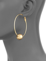 Kenneth Jay Lane KJL Elegant Gold tone Ball detail hoop Earrings - $54.45