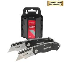 HUSKY Folding Lock-Back Utility Knife with 50 Blades in Dispenser (2-Piece) - $29.95