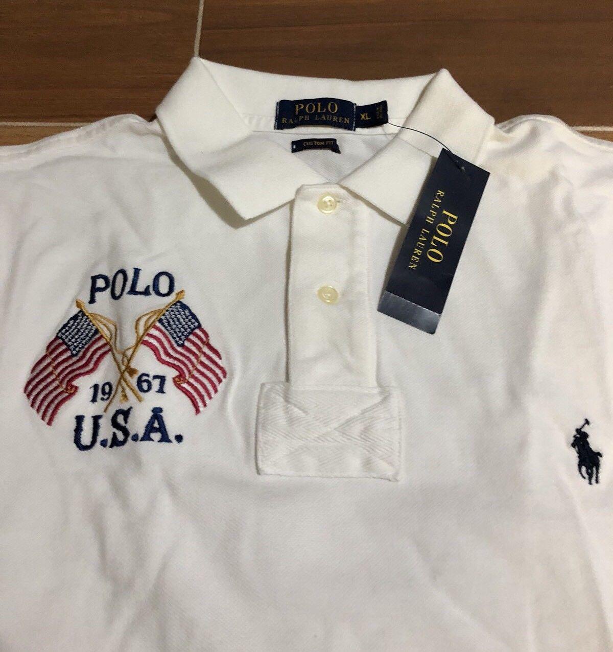 bb5f6028 S l1600. S l1600. Previous. Polo Ralph Lauren men's sz XL Heritage White  Flag Logo Custom Fit ...