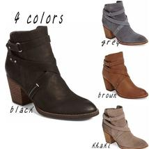 4 Colors Women Fashion Autumn Winter Thick High Heel Strap Boots Ankle Boots Lea