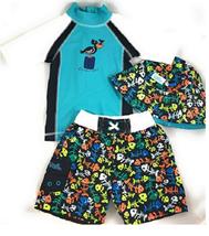 Uv Skinz Boys' 3-piece Swim Set, UPF 50+ Sun Protection,Size 3T,4T, 5 & 6 image 1