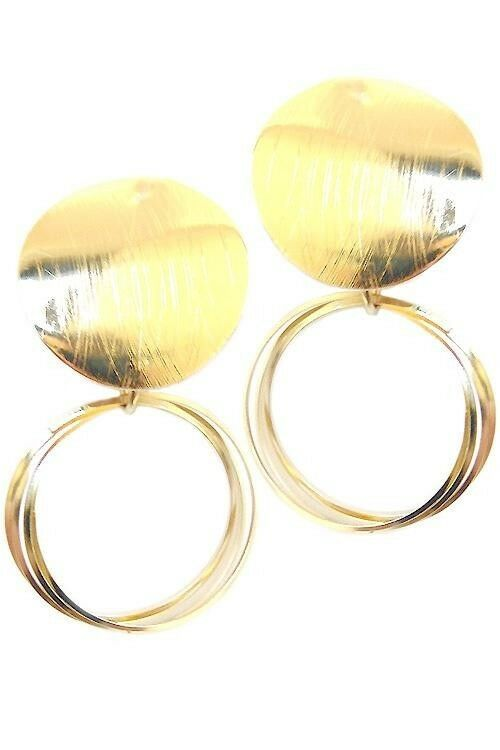 Primary image for WOMEN'S FASHION JEWELRY METAL POST EARRINGS GOLD NEW NEVER WORN